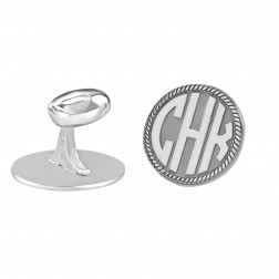 Round Rope Bordered Block Monogram Cufflinks 18mm