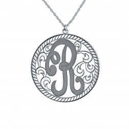 Single Initial Monogram Necklace 15mm