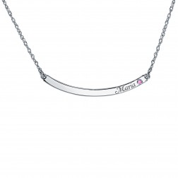 Itsy Bitsy Curved Bar Birthstone Necklace 3x42mm
