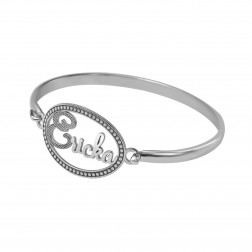 Classic Beaded-Border Name Bangle 29x31mm