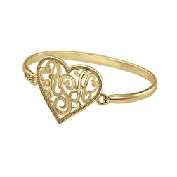 Heart Monogram Bangle