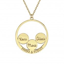 Circle and Couples Family Name Pendant 30mm