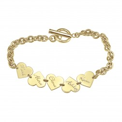 Family Dangle Heart Name Bracelet