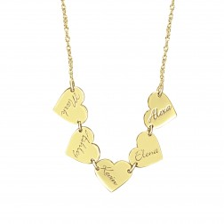 Family Dangle Heart Name Necklace