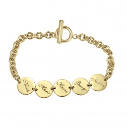 Round Dangle Family Name Bracelet