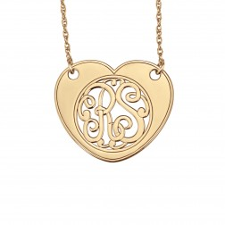 Heart Scripted Monogram Necklace 25x30mm