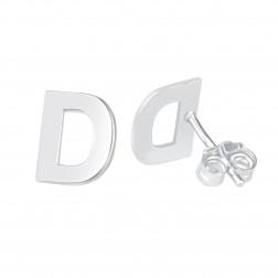 Small Block Initial Earrings 8mm
