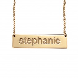 Block-Letter Bar Necklace 9.5x36.5mm