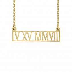 Roman Numeral Date Bar Necklace 8x25mm