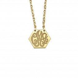 Solid Hexagon Monogram Necklace 10x12mm