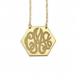 Solid Hexagon Monogram Necklace 20x25mm