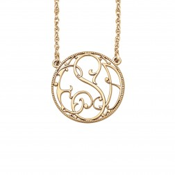 Ivy Halo Rope-Bordered Monogram Necklace 20mm