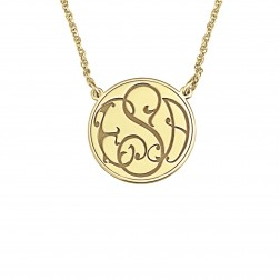 Ivy Classic Recessed Monogram Necklace 20mm