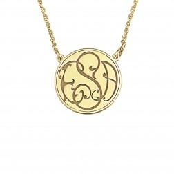 Ivy Classic Recessed Monogram Necklace 20mm