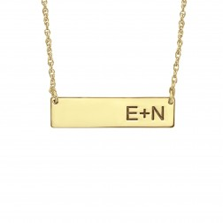 Solid Bar Initial Necklace 7x30mm