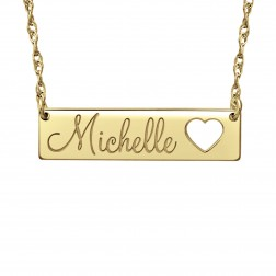 Cutout Heart Name Necklace (7x30mm)