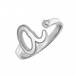 Diamond Accent Lowercase Single Initial Ring 10mm