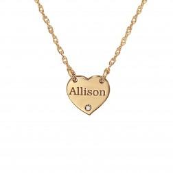 Mini Heart Birthstone Accent Necklace