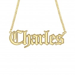 Mens Gothic Name Necklace