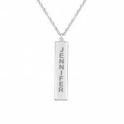 Vertical Rectangle Name Pendant 34x7.5mm