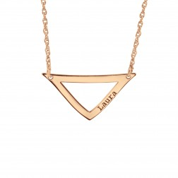 Curved Triangle Bar Name Necklace 28x14mm