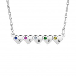 Plethora of Hearts Initial Birthstone Necklace