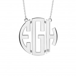 Diamond Accent Block Monogram Necklace
