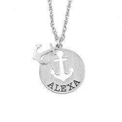 Anchor Symbol Name Satin Pendant 16mm