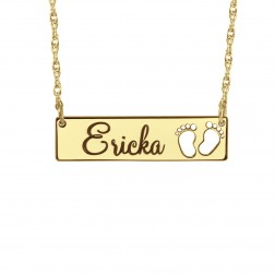 New Baby Feet Name Necklace 7x30mm