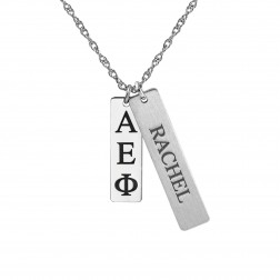 Rectangular Multi-charm Greek Name Pendant 27.6x6mm