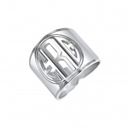 Cigar Band Block Initial Monogram Ring 18mm