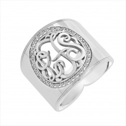 Cigar Band Cut Out Diamond Monogram Ring 18mm