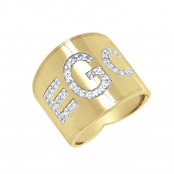 Cigar Band Block Font Diamond Monogram Ring 18mm