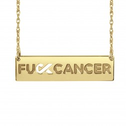 FCancer Ribbon Cutout Bar Necklace