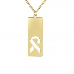 FCancer Ribbon Logo Cutout Dog Tag