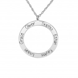 Open Circle Six Names Family Pendant (28mm)