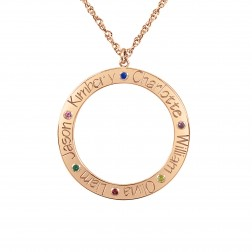 Open Circle Six Names With Birthstones Family Pendant (28mm)