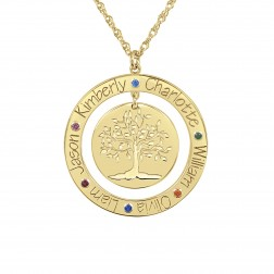 Tree of Life Six Names With Birthstones Family Pendant (24mm)