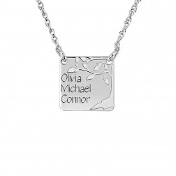 Tree of Life Three Names Square Family Pendant (13mm)