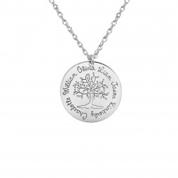 Tree of Life Six Names Round Family Pendant (20mm)
