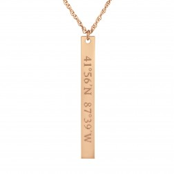 """Mappable Moments"" GPS Coordinates Vertical Bar Pendant"
