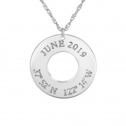 """Mappable Moments"" Coordinates Circular Pendant"