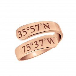 """Mappable Moments"" GPS Coordinates Wrap Ring"