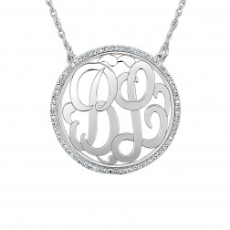 Diamond Halo Classic Monogram Necklace Large (28mm)