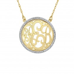 Diamond Halo Classic Monogram Necklace Small (23mm)