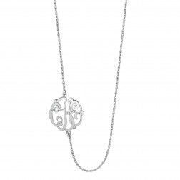 Sideways Three Initials Classic Monogram Necklace (20mm)