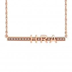 Diamond Accent Bar Initials Necklace (6x44mm)
