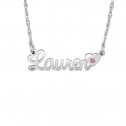 Kids Name Necklace With Birthstone In A Heart (8x26mm)