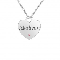 Kids Birthstone One Name Heart Pendant (17x16mm)