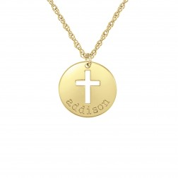 Kids Disk With Cutout Cross Pendant (16mm)